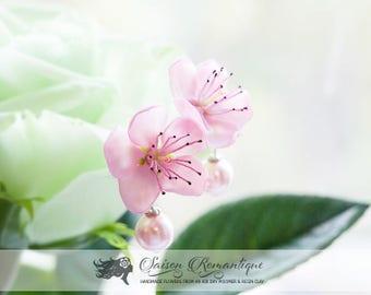 Earrings Sakura Peach - Polymer Clay Flowers - Mothers Day Gift for Women Stud Earrings Pink Earrings Gift For Her Flower Sakura