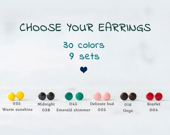 Tiny stud earrings, Set of earrings, Tiny post earrings set, Small earrings set, Set of 3 earrings, Tiny earrings / 6 mm