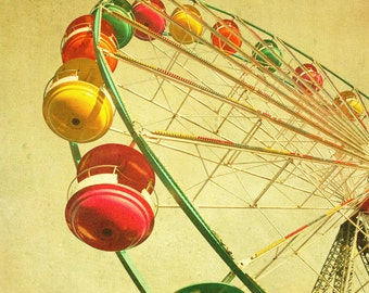 Nursey photography, home decor, summer photography, carnival spring, bomobob, mustard yellow, ferris wheel - One Summer Dream 8x8