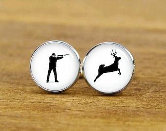 hunting deer cufflinks, deer hunter cuff links, go hunting, custom wedding  cufflinks, round, square cufflinks, tie clip or a matching set