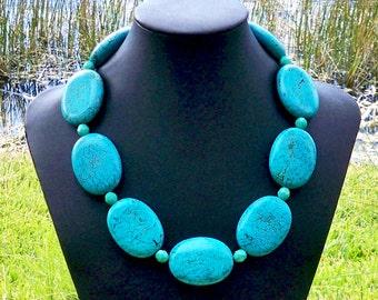 TURQUOISE STATEMENT NECKLACE Turquoise Large Gemstone Necklace Chunky Turquoise Necklace 40mm x 30mm Turquoise Oval Necklace Large Turquoise