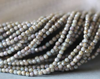 2mm, Opaque Green, Luster, Faceted, Round, Tiny, Seed Beads, Czech Glass, Beads, 50 pieces, Stone Creek Surplus