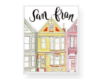 San Fran Buildings Watercolor Wall Art - Print