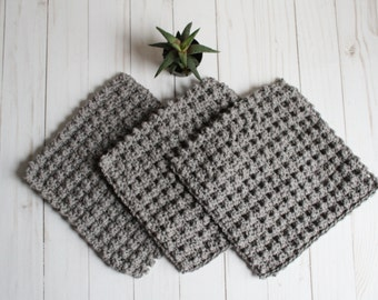 Set of 3 cotton washcloths / eco friendly cotton washcloth / cotton dish rag / crochet dishcloth / handmade washcloth