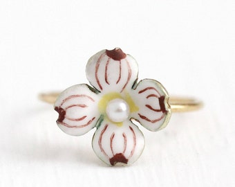 Sale - Antique Dogwood Ring - Vintage 1900s Edwardian 14k Yellow Gold Band Enamel Flower - Size 6.5 Stick Pin Conversion Fine Pearl Jewelry