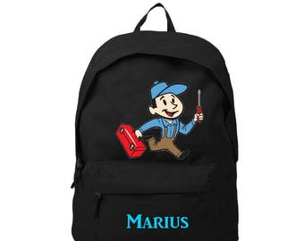 bag has black back handyman personalized with name