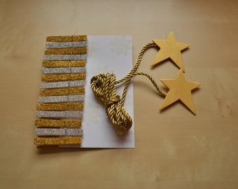 Silver and Gold Christmas Card Holder with Star Ends