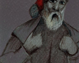 original art  aceo drawing grey scale Santa Claus Christmas