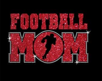 Women's Glitter and Rhinestone Football Mom Shirt