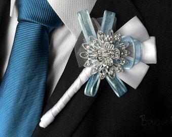 Silver Buttonhole, Wedding Buttonhole, Boutonniere, Mens Wedding Boutonniere, Lapel Pin, Mens Lapel Pin, Silver Lapel Pin, Prom Lapel, Groom