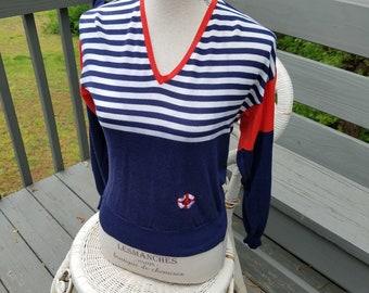 1980s sweater//Joyce Sportswear Nautical Sweater//vintage 80s sweater