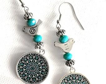 SEPIDEH Blue vintage Persian tile design Earrings - Persian jewelry- Oriental - Mandala
