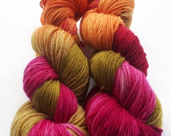 Hand painted Premium high twist sock yarn hand dyed: Last Flowers