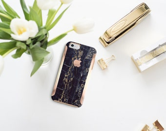iPhone 8 Case iPhone 8 Plus Case iPhone X Black & Bronze Marble with Rose Gold Detailing  Hard Case Otterbox Symmetry         Minimalist