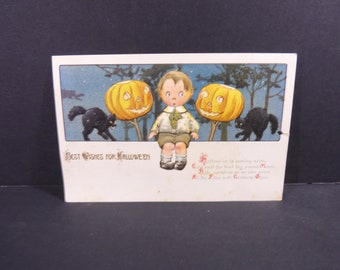 Vintage Gottschalk Best Wishes for Halloween postcard