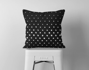 Poka Dot Pillow, Black and White Throw Pillow, Decorative Pillows, Square Pillow, Pillows, Throw Pillows, Accent Pillow, Cushion, Home Décor