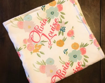 Custom Made to Order Baby Blanket Personalized Print - Baby Girl Modern Sring Floral Print