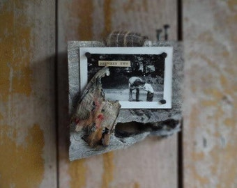 Between Two. Miniature Original Mixed Media Collage Assemblage Art,Small Mixed Media Art,Love,Fathers Sons,Primitive Art,Tiny Wall Sculpture