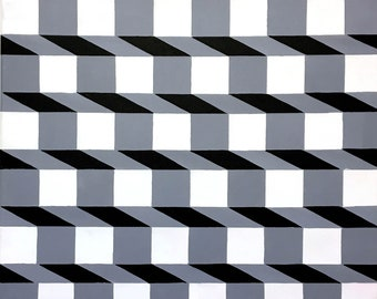 Original Modern Geometric Op Art Canvas Painting