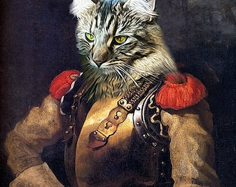 Géricault - Portrait de Carabinier - Custom Pet Portraits - Dog Portraits and Cat Portraits - Digital pet portrait painting using your Photo