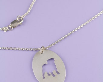 Pug Sterling Silver Oval Silhouette Pendant