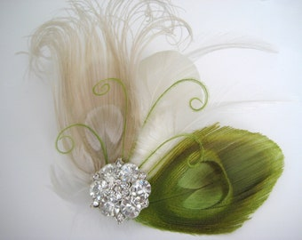 Fall Autumn Wedding Bridal Bridesmaid Ivory Lime Green Peacock Feather Rhinestone Jewel Hair Clip Fascinator