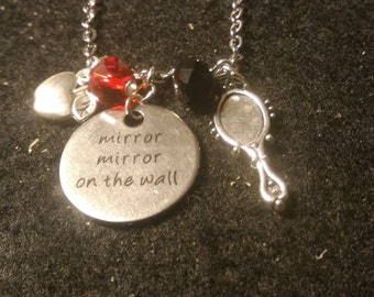 "Evil Queen Necklace; ""Mirror mirror on the wall"" stamped Necklace; Once Upon A Time Necklace; Poisoned Apple; Snow White; Gift For Her"