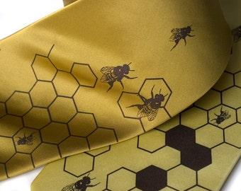 """Gold silk beehive necktie. """"Oh Honey."""" Silkscreened honeybee men's tie, chocolate brown ink."""