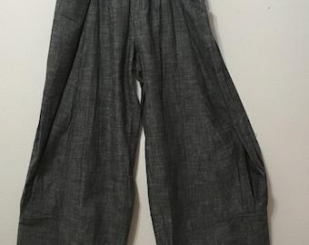 Women Pleated Wide Leg Grey Pants