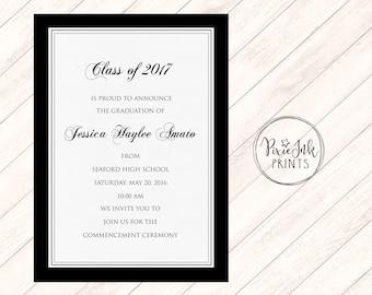 Graduation Party Invitation, Black & White Graduation Invitation, Graduation Invite, Class of 2017 Graduation Invitation, Grad Printable