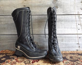 Vintage Black Leather Boots Lace Up Rugged Hiking Work Combat Style Timberland Mid Calf Women's ESTIMATE 6 - 6.5 Euro 37 Wedge Heel 2""