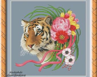 Tigress Cross Stitch Pattern Animal pattern Modern cross stitch pattern PDF Embroidery room wall decor