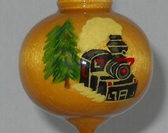 Train Christmas Ornament, Hand Painted Wooden Steam Engine, WBO-43