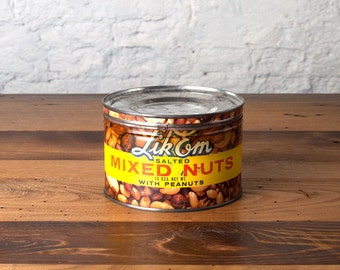 Vintage Lik-Em Mixed Nuts Tin Retro Advertising Mid Century Metal Storage