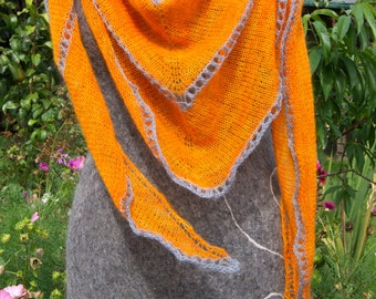 XXL Triangle Scarf. Pure Angora. Handknitted.