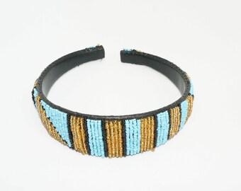 Beaded Headband - Turquoise & Gold