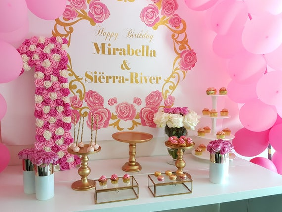 Attractive Pink And Gold Floral Birthday Backdrop Roses Baby Shower