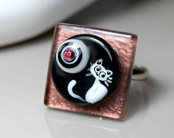 TRIZAS-ORIGINAL glass lampwork fused adjustable ring -cat- TOAN0125 SRA