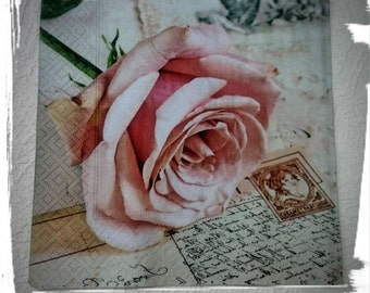 1 single Decoupage Paper Napkin,erysipelas, pink rose,stamps,Crafts, Decopatch ,Tissue napkins,Mixed Media, Serviettes