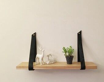 French oak shelf with black leather straps. Hanging shelf, shelves,
