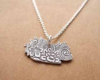 Flowered Long Haired Guinea Pig Necklace, Fine Silver, Sterling Silver Chain, Made To Order