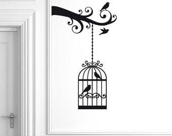 Birdcage Hanging from Branch Wall Decal, Bird Wall Decor, Bird Cage Vinyl Wall Sticker (0177b)