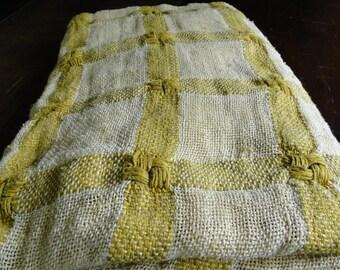 Yellow and Cream Plaid Vintage Fabric - One Yard