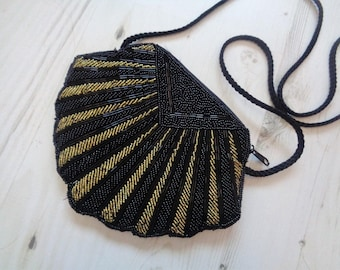 Black and gold  beaded purse bag 1920 1930 flapper Art Deco shell Gatsby party inspired Downton Abbey costume