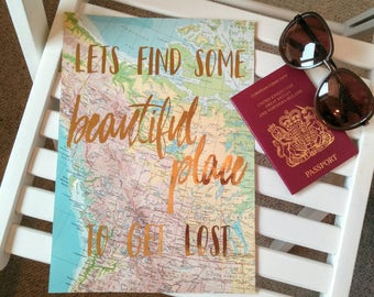 Vintage Map Foil Print 'Choose your own Travel Quote' and Choose your Foil Colour. Actual A4 Print ready to Frame. Atlas Travel Quote.