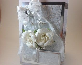Beautiful Elegant Luxury Wedding Card Best Wishes Silver White Rose