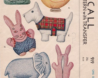 RARE 1940s McCall 919 Slip Cover Animals with Transfers Vintage Sewing Pattern - Sew Toys Cat Rabbit Elephant Duck & Dog, Partly Cut