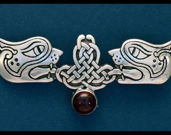 Celtic Lions Pin W/ Garnet Cabachon- Sterling Silver