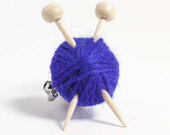 Purple Ball of Wool and Knitting Needles Brooch - Knitters Yarn Pin