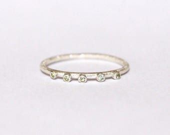 Peridot textured stacking ring in sterling silver